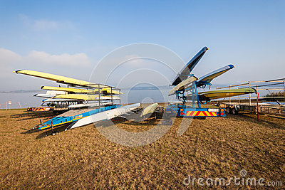 Rowing Regatta Crafts Trailers Dam Editorial Stock Photo