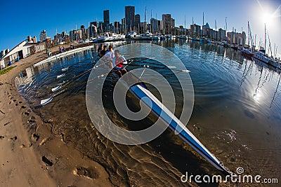 Rowing Regatta Fours Water Practice Editorial Photo