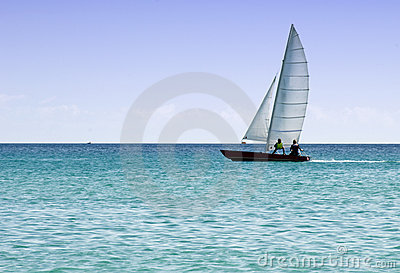 Rowing sailing boat
