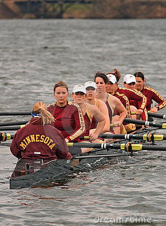 Rowing Team in the water Editorial Stock Image