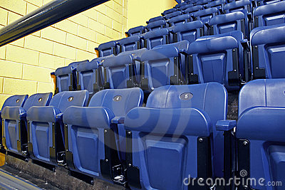 Rows of blue seats