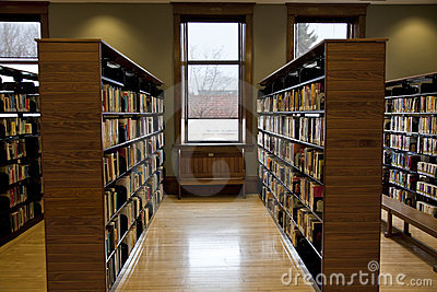 Rows of book shelves
