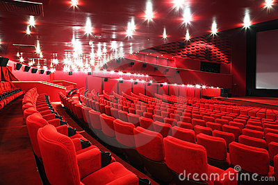 Rows of chairs in cinema Stock Photo