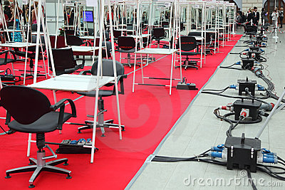 Rows of chairs and tables for hairdressers Editorial Stock Photo
