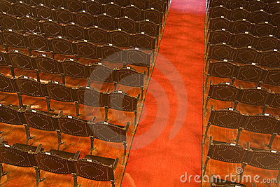 Rows and chairs an theater,