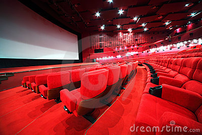 Rows of comfortable chairs in cinema Stock Photo
