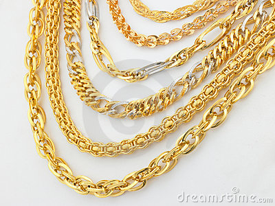 Rows of designed gold chains