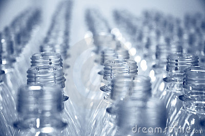 Rows of empty bottles