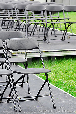 Rows of empty chairs outdoor