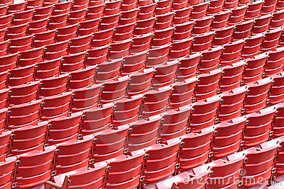 Rows of empty seats in an outdoor theat