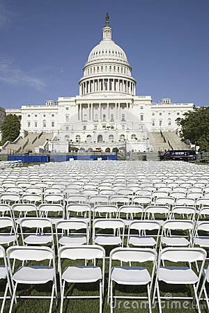 Rows of empty white chairs Editorial Photo