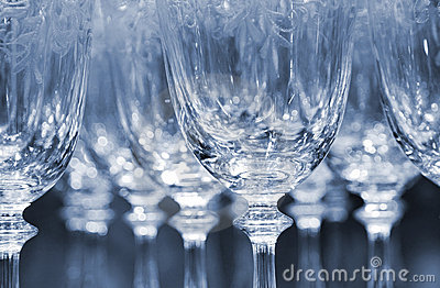 Rows of empty wine glasses
