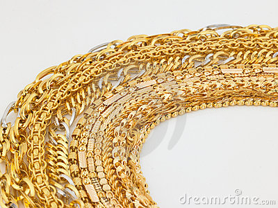 Rows of gold  chains