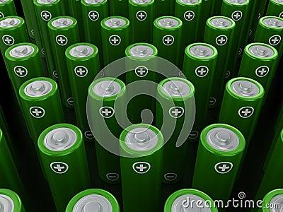 Rows of green alkaline batteries (AA)