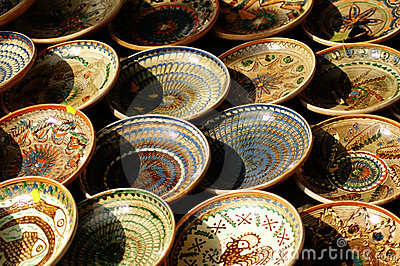 Rows of hand-made bowls.