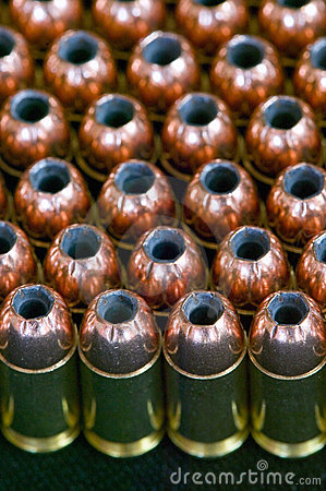 Rows of hollow point bullets - Ammunition