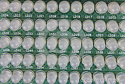 Rows of LEDs on a Circuit Board