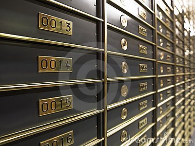 Rows of luxurious safe deposit boxes