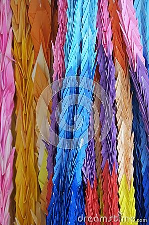 Rows of paper cranes