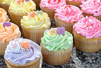 Rows of Pastel Cupcakes