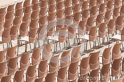 Rows of plastic chairs.