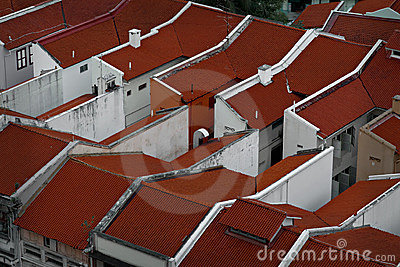 Rows of rooftops at angle