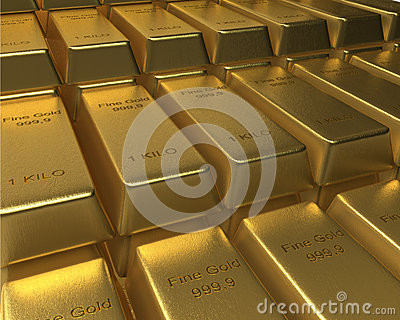 Rows and rows of stacked Gold Bars
