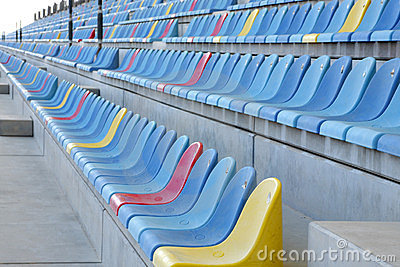 Rows of seats in main grandstand of BIC