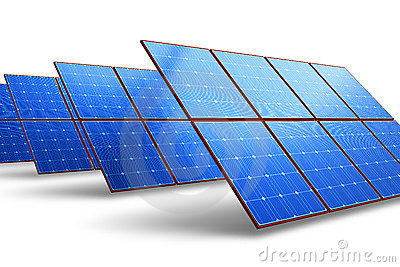Rows of solar battery panels