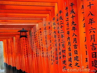 Rows of torii gates of Fushimi Inari Taisha Shrine