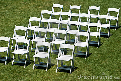 Rows Of White Wedding Chairs Royalty Free Stock Photography - Image ...