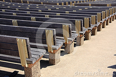 Rows of wood seats