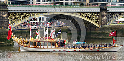 The Royal Barge heads heads off Editorial Stock Photo