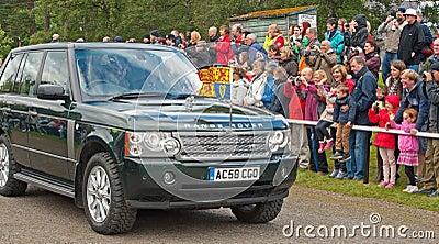 Royal car met by crowds at Braemar Editorial Photo