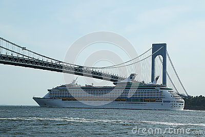 Royal Caribbean Explorer of the Seas Cruise Ship under Verrazano Bridge Editorial Stock Image