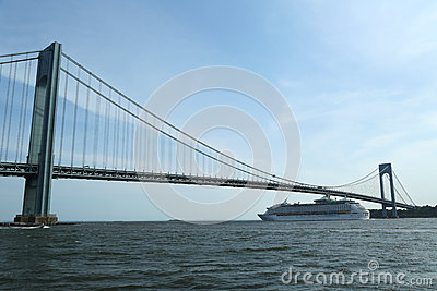Royal Caribbean Explorer of the Seas Cruise Ship under Verrazano Bridge Editorial Photo