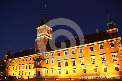Royal castle in Warsaw (Poland) at night