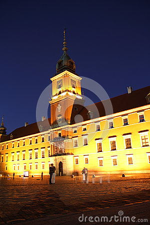 Royal castle in Warsaw (Poland) at night Editorial Photo