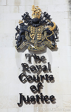 Royal Courts Of Justice sign Editorial Stock Image