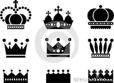 Royal Crown Icons Black White