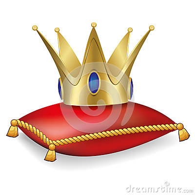 Royal crown on the pillow with tassels