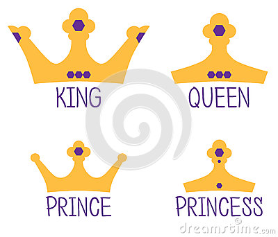 Royal Crowns King Queen Prince Princess Stock Photo