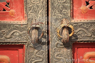 Royal dragon door details of Forbidden City
