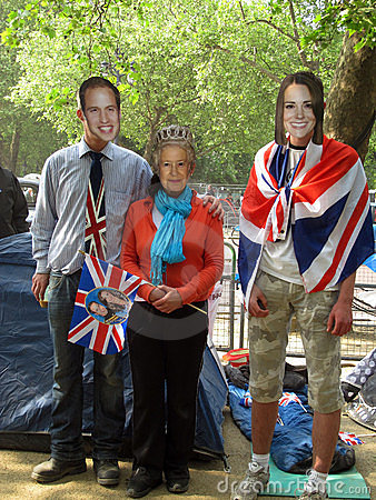 Royal fans dressed up Editorial Stock Photo