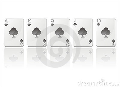 Royal flush in clubs