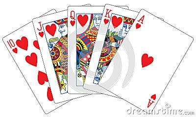 Royal flush hearts playing cards