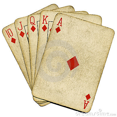 Free Royal Flush Old Vintage Poker Cards. Stock Photography - 7696802