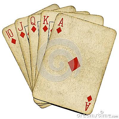Free Royal Flush Old Vintage Poker Cards. Stock Photography - 7696802