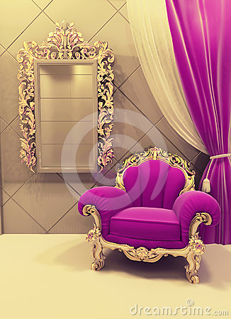 Royal Furniture In A Luxurious Interior Pink Stock Photo