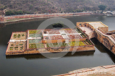Royal garden of Amber Fort near Jaipur India Editorial Photography